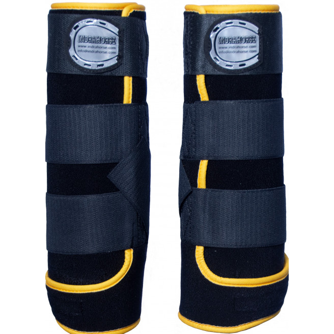 horse boot black fantasy yellow piping