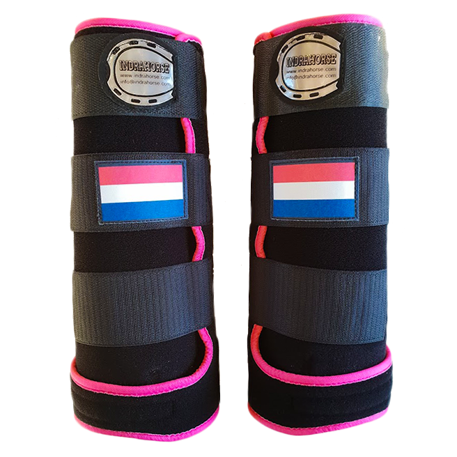 legprotectors Fanatasy black pink Dutch flag