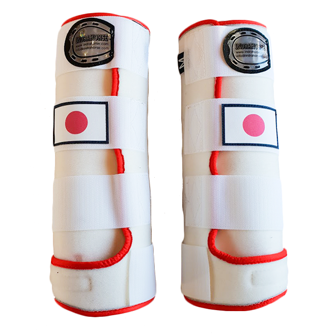legprotectors fantasy white red japanese flag
